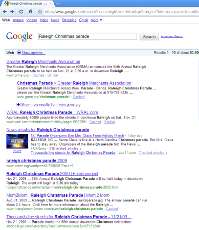 Raleigh Christmas parade search results