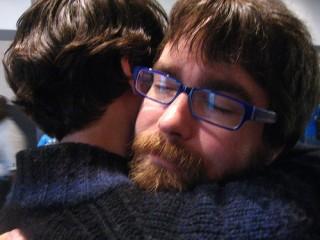 Trammell gets a hug