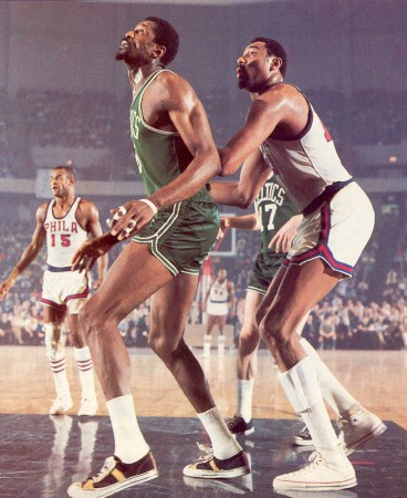 Bill Russell boxing out Wilt Chamberlain