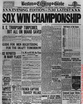 Red Sox win 1918 World Series