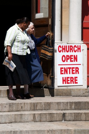 Two Women Leaving Church
