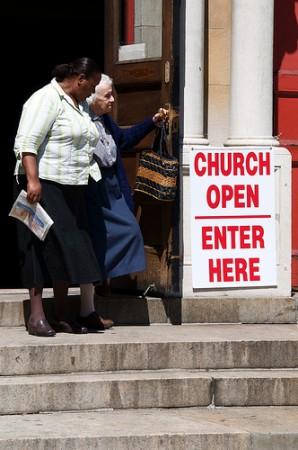 Two Women Leaving Church