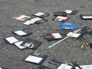 Old floppy disks in the street