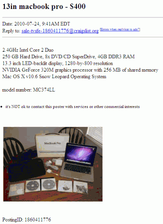 The Scammer's Craiglist Ad