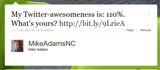 My Twitter-Awesomeness is 110%