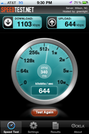 iPhone 3G speedtest
