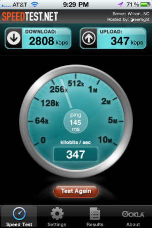 iPhone SpeedTest on home wifi