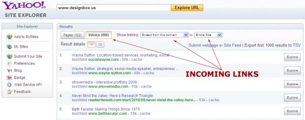 Designbox in Yahoo Site Explorer