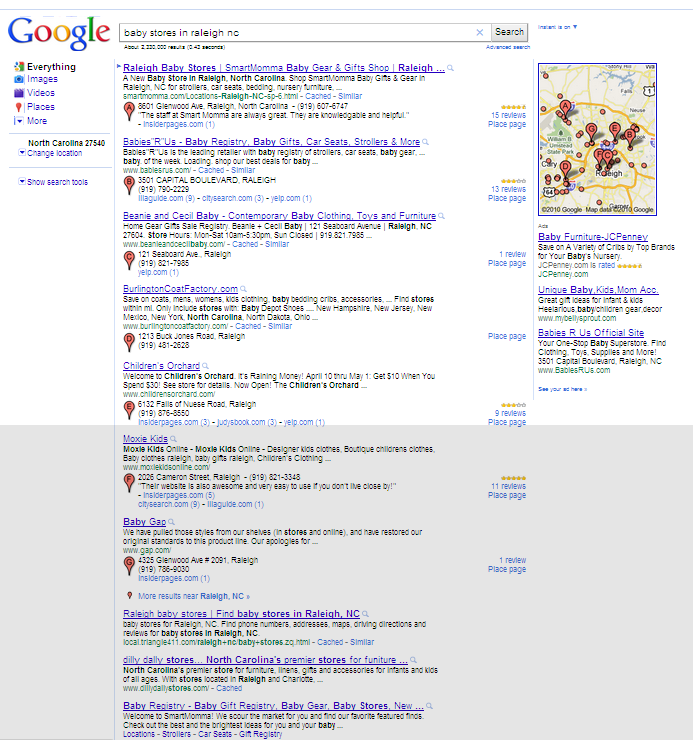 Local results take over Google's organic results