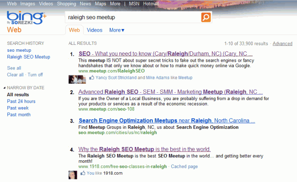 Logged into Bing searching for Raleigh SEO Meetup
