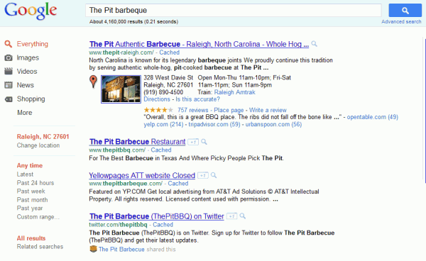 Logged into Google search for The Pit