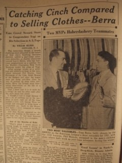 Yogi Berra selling clothes