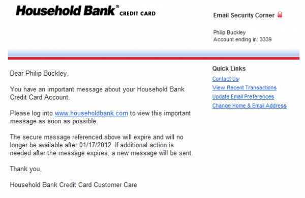 The email from Household Bank urging me to take action