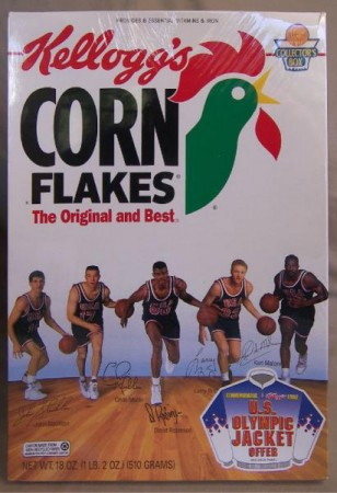 1992 US Olympic Basketball Dream Team Cornflakes box cover