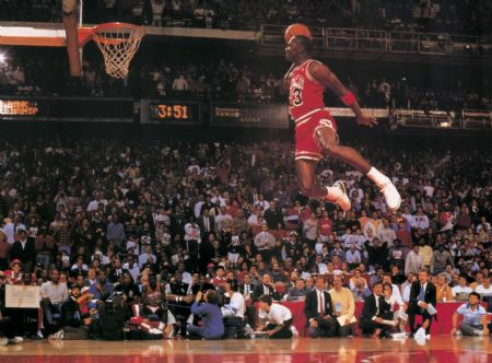 iconic Michael Jordan dunking