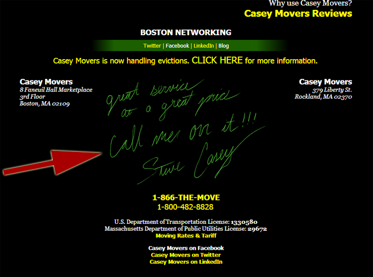 "Casey Movers website says ""Call me on it"""