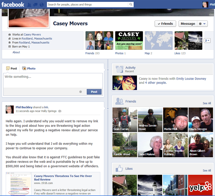 Casey Movers can't control their Facebook page