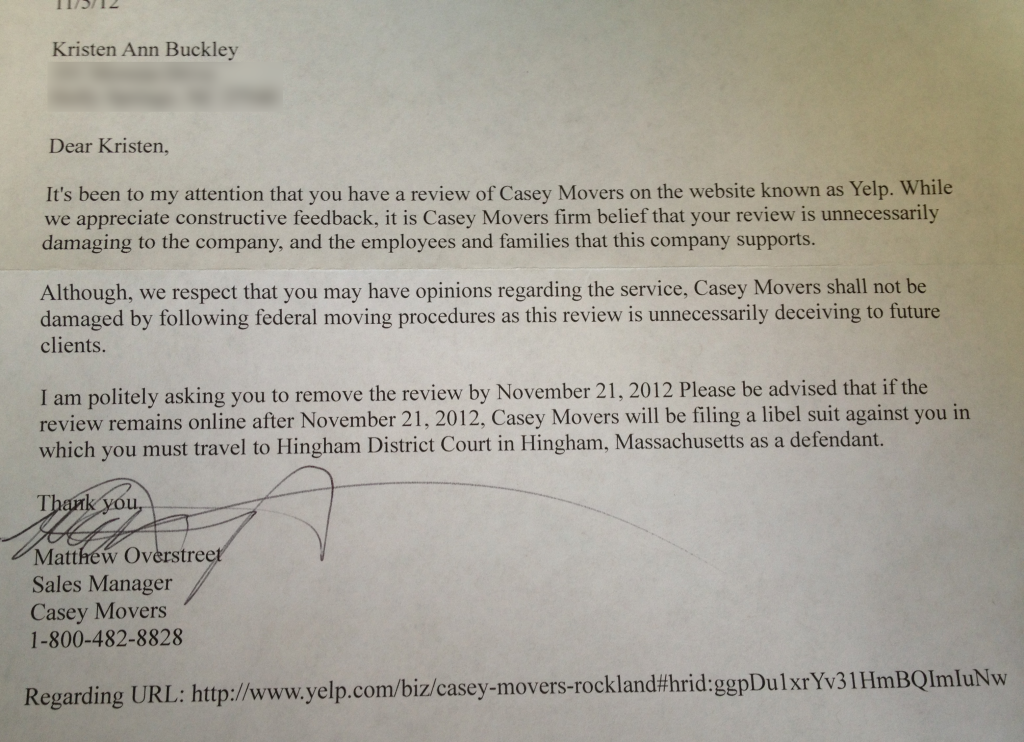 Casey Movers threatening letter over bad review