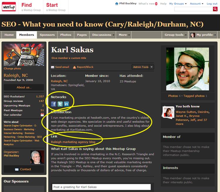Karl Sakas Raleigh SEO Meetup profile