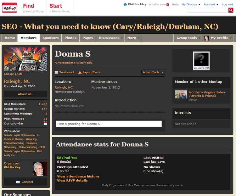 Donna S. profile page