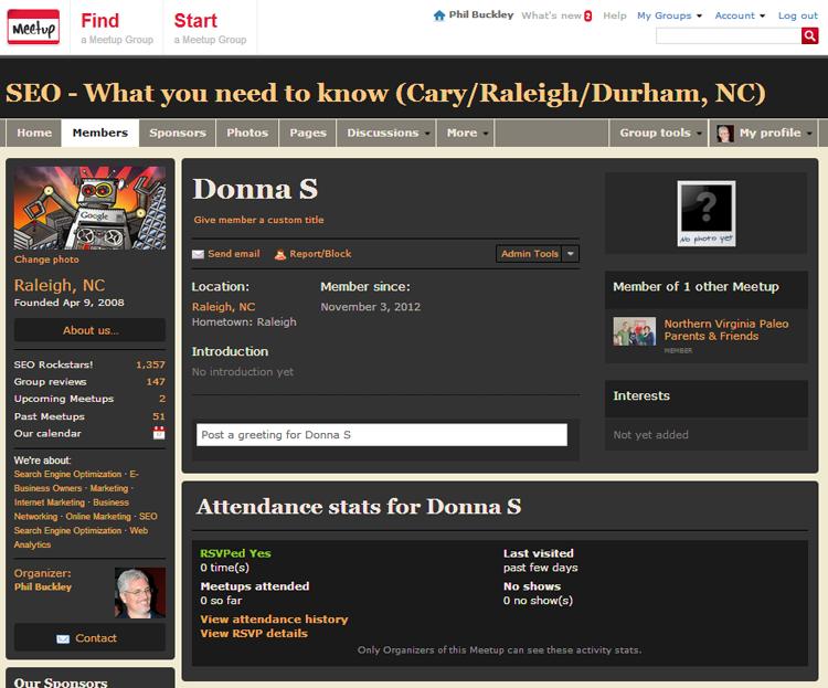 Donna S. profile page