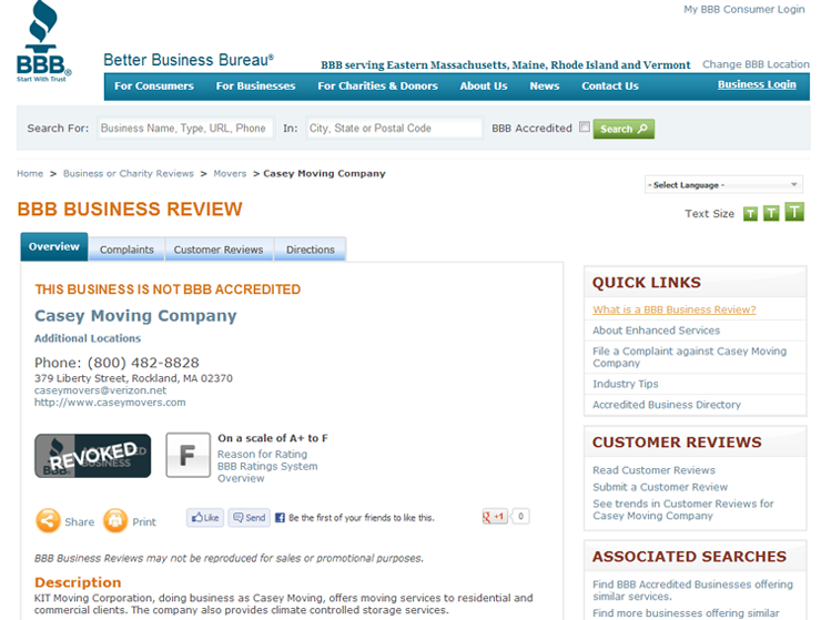 Casey Mover now rated an F by Better Business Bureau