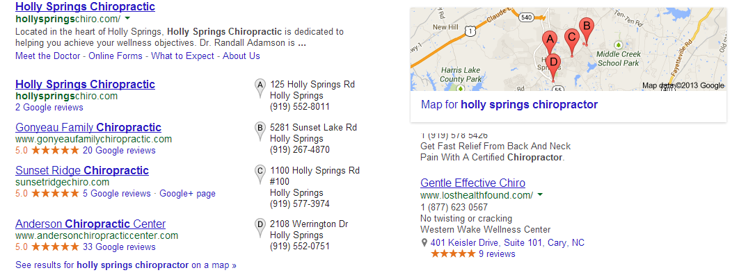 Holly Springs Chiropractor search results