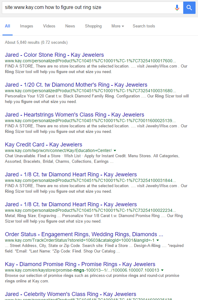 kay jewelers ring size query
