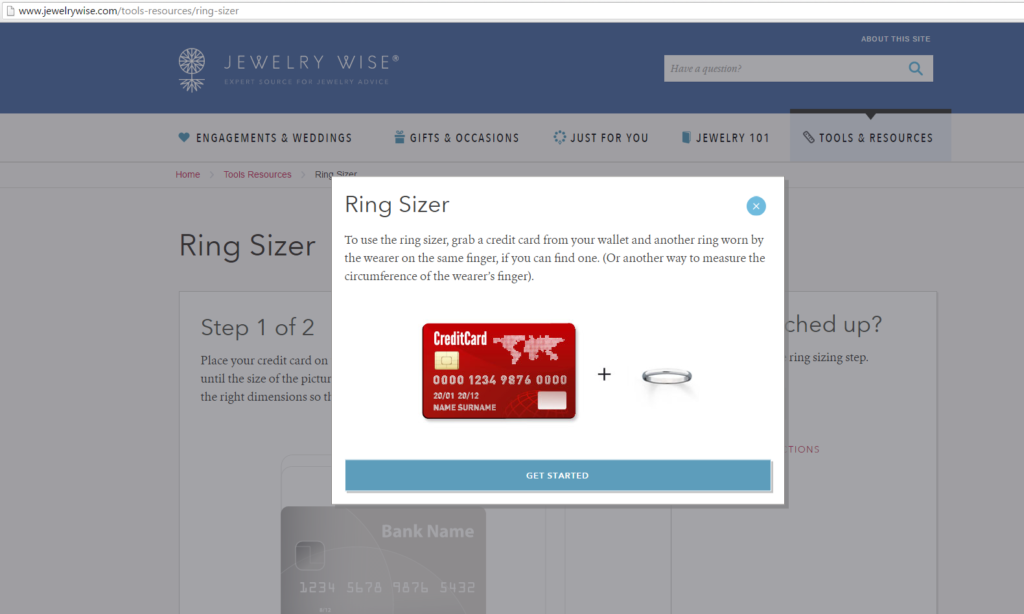 kay.com site search ring size