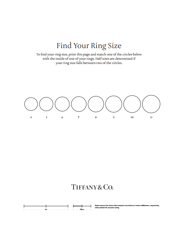 Tiffany & Co. ring sizes